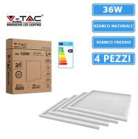4 pz V-TAC VT-6139 Pannello LED Luce 60x60 Quadrati 6400K 36W 6381 incasso mshop