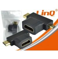 ADATTATORE SPINA HDMI FEMMINA A MINI E MICRO HDMI MASCHIO LINQ HF-103 mshop