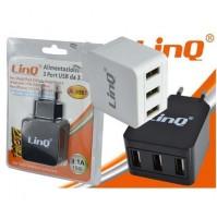 ALIMENTATORE DA RETE 3 IN 1 CON 3 PORTE USB 15W PER SMARTPHONE LINQ A-3357 mshop