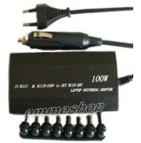 ALIMENTATORE UNIVERSALE 100W 2 IN 1 PER NOTEBOOK PC DA CASA AUTO USB mshop
