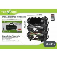 Altoparlante Cassa Speaker Bluetooth wireless con telecomando TekOne BT12 mshop