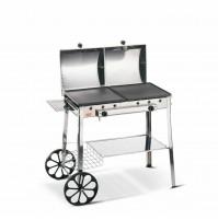 Barbecue ghisa Ferraboli 95 a gas stereo acciao inox braciere 2 piastre mshop