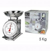 Bilancia da cucina pesa alimenti ciotola meccanica 5 kg div 20 g acciaio mshop