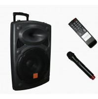 CASSA STEREO KARAOKE CON MICROFONO BLUETOOTH USB MP3 RADIO TROLLEY WG-2305 mshop