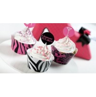 DECORA KIT SET 12 PZ PIROTTINI GLAMOUR PER CUPCAKES MINI MUFFIN DOLCI mshop
