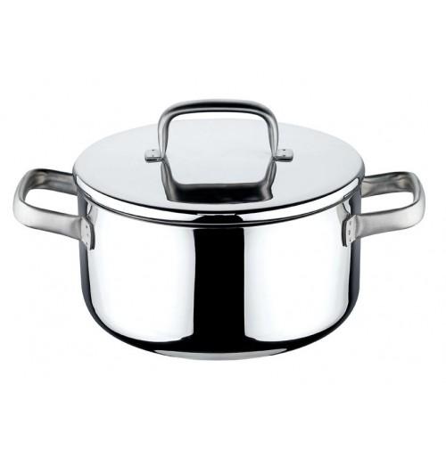 Eva casseruola per piastra a induzione 20 cm acciaio inox con coperchio mshop - Piastra in acciaio inox per cucinare ...