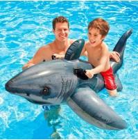 Gonfiabile galleggiante squalo bianco Intex 57525 materassino cavalcabile mshop