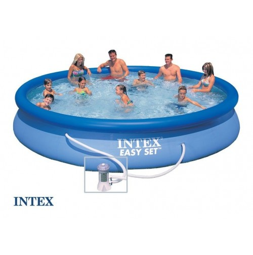 Intex piscina rotonda easy set cm 457 x 84 con pompa for Piscina intex rotonda