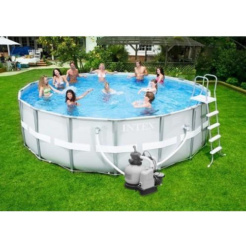 Intex piscina ultra frame tonda 549 x 132 cm pompa a sabbia combo 28336 mshop - Piscina intex tonda ...