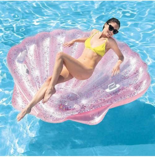 Isola grande conchiglia glitter rosa Intex 57257 gonfiabile piscina mare mshop