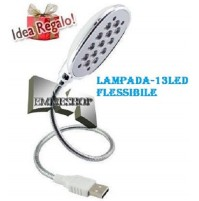 LAMPADA LUCE USB 13 LED FLESSIBILE PC NOTEBOOK LIGHT PORTATILE SNODABILE mshop
