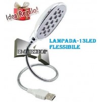 LUCE LAMPADA USB 13 LED FLESSIBILE PC NOTEBOOK PORTATILE SNODABILE LIGHT mshop