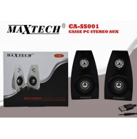 MAXTECH CASSE PC STEREO AUX MULTIMEDIA DIGITAL AUDIO JACK 3.5MM CA-SS001 mshop
