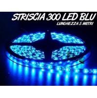 STRISCIA LED 3528 BLU 300 LED 5 METRI BOBINA LUCE DECORATIVA mshop