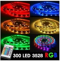 STRISCIA LED 3528 RGB 300 LED 5 METRI BOBINA MULTICOLOR LUCE DECORATIVA mshop
