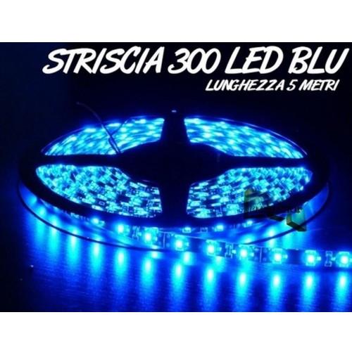 STRISCIA LED SMD 3528 BLU 300 LED BOBINA 5 METRI LUCE DECORATIVA CASA AUTO mshop