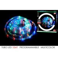 TUBO LED MULTICOLOR 10 MT NATALE CATENA LUCI PROGRAMMABILI INTERNO ESTERNO mshop