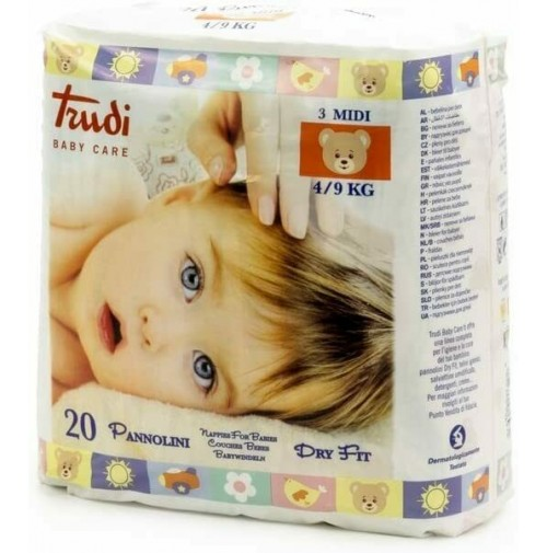 Trudi Baby Care 40 Pannolini Dry Fit Perfo Soft Taglia M 4 / 9 kg 2 Conf. mshop