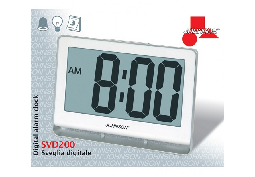 JOHNSON SVEGLIA OROLOGIO DIGITALE DISPLAY CALENDARIO A BATTERIE SVD200