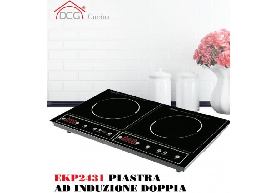 Dcg cottura piastra cucina elettrica induzione fornello doppio ekp2431 mshop - Piastra elettrica cucina ...