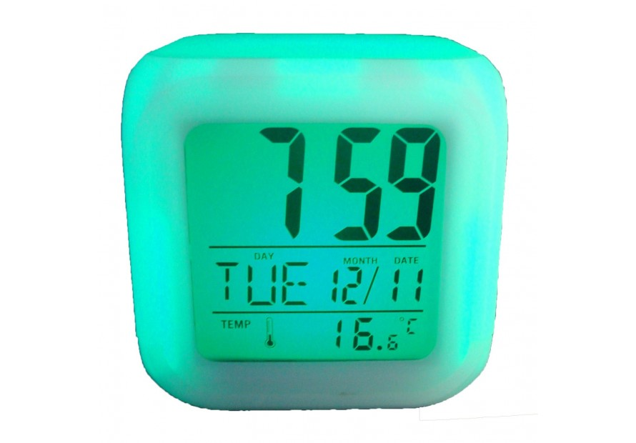 CUBO LED OROLOGIO CON SVEGLIA DIGITALE COLORATO DISPLAY ALLARME DATA