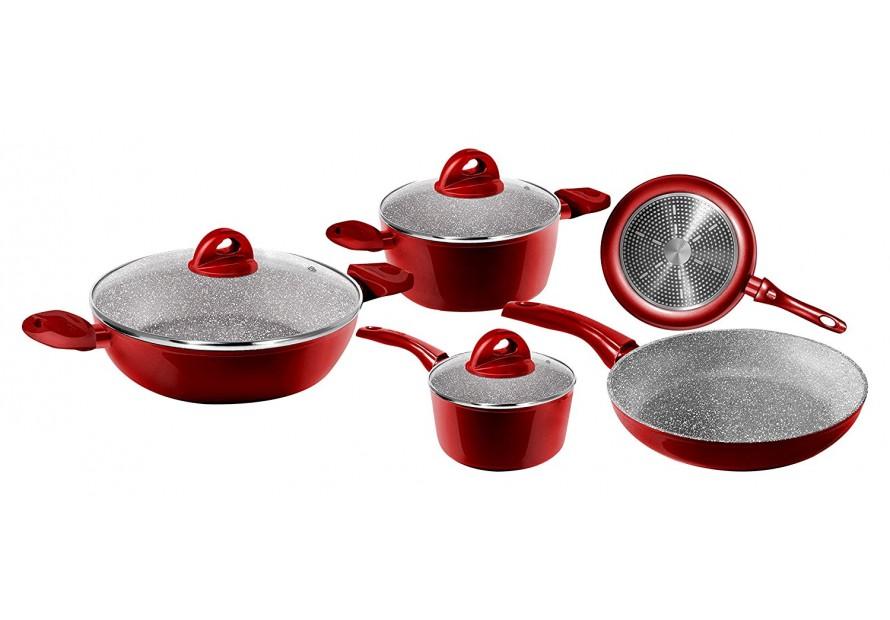 Batteria aeternum bialetti passion rossa red pentole for Pentole induzione ikea