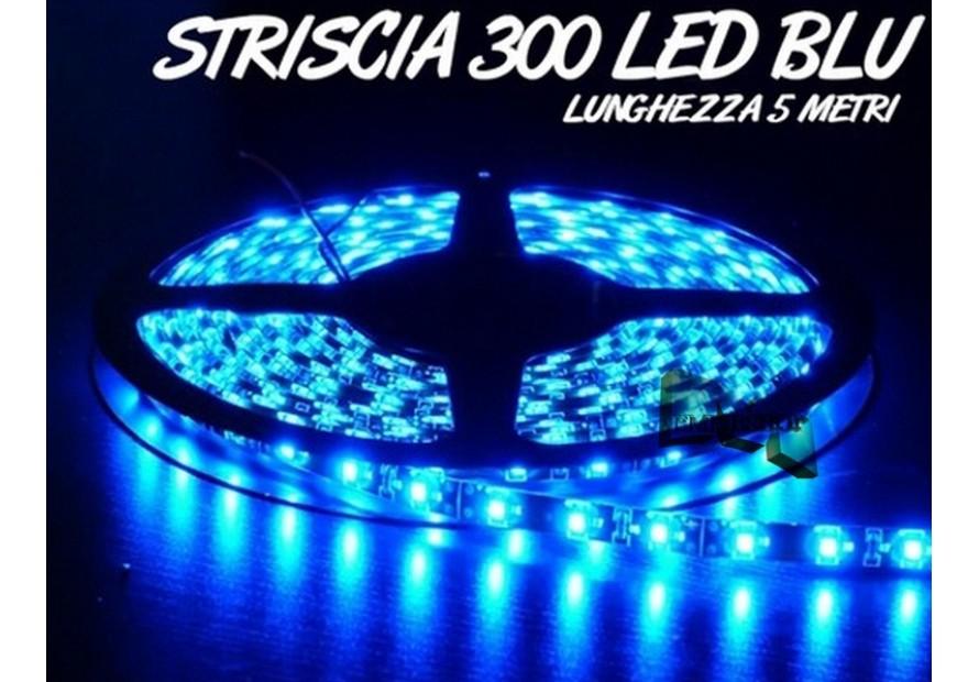 STRISCIA LED SMD 3528 BLU 300 LED BOBINA 5 METRI LUCE DECORATIVA CASA AUTO